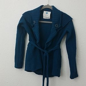 Anthro Sparrow teal cardigan sweater S 100% wool